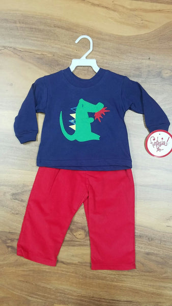 DRAGON CREW NECK & RED CORDUROY PANT SET BY FUNTASIA TOO #9140RD