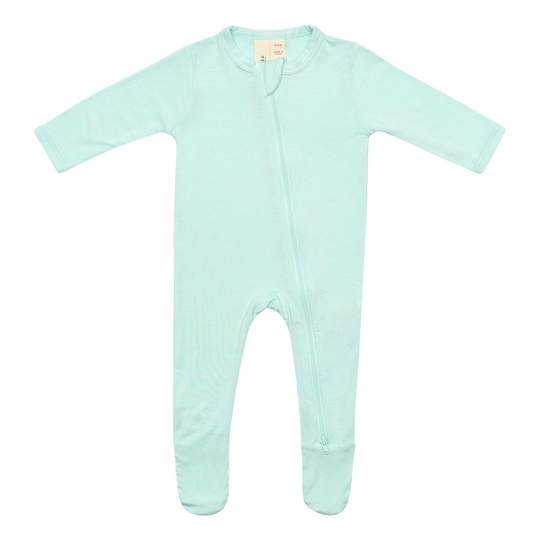 ZIPPERED FOOTIE IN SEA MIST BY KYTE