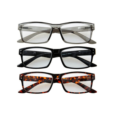 Retro Reading Glasses Set +1.0 - 3Pc Mixed Pack - Bucky Products Wholesale