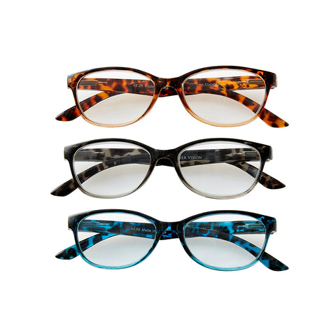 Tortoise Reading Glasses Set +2.0 - 3Pc Mixed Pack