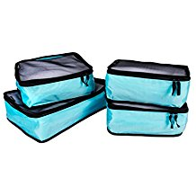 4 Piece Travel Organizer Cube Set - Blue - Bucky Products Wholesale