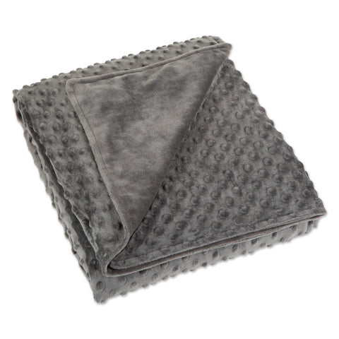 "Gray Minky Dot Sensor Weighted Blanket Cover - 41""x60"""