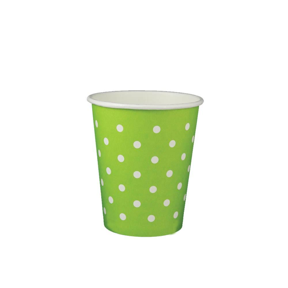 08 OZ PAPER DRINKING CUPS, POLKA DOT GREEN - 1,000/CS - (item code: 35083) - CarryOut Supplies