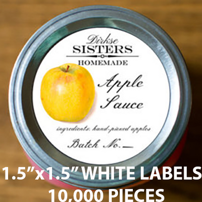 "10,000 pcs Order - 1.5"" x 1.5"" WHITE LABELS - $37.58 PER 1,000 PCS - CarryOut Supplies"