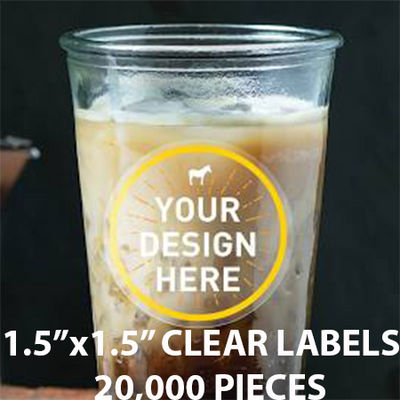"20,000 pcs Order - 1.5"" x 1.5"" CLEAR LABELS - $27.52 PER 1,000 PCS - CarryOut Supplies"