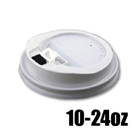 10 - 24 OZ. PLASTIC LOCK-BACK SIPPER LIDS FOR PAPER HOT CUPS, WHITE - 1,000 PCS/CS (ITEM# 3680) - CarryOut Supplies