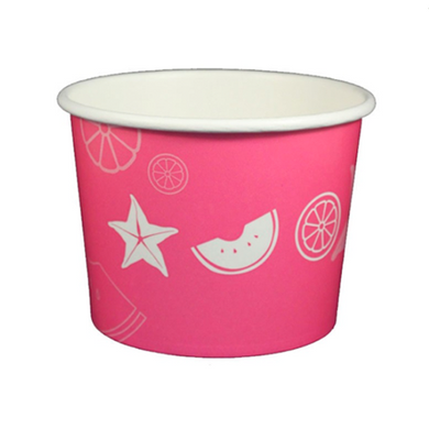 16 OZ. PAPER YOGURT CUPS, FRUIT PATTERN PINK - 1,000 PCS/CS - (Item: 23824) - CarryOut Supplies
