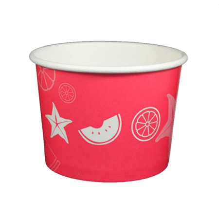 16 OZ. PAPER YOGURT CUPS, FRUIT PATTERN RED - 1,000 PCS/CS - (Item: 23825)