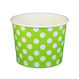 16 OZ. PAPER YOGURT CUPS, POLKA DOT LIME GREEN - 1,000 PCS/CS - (Item: 21661)