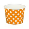 16 OZ. PAPER YOGURT CUPS, POLKA DOT ORANGE - 1,000 PCS/CS - (Item: 21663) - CarryOut Supplies