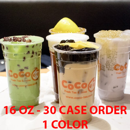 30 CASES - 16 OZ. CUSTOM PRINTED PP PLASTIC CUPS - 50% DEPOSIT REQUIRED - $83.60/CS - CarryOut Supplies