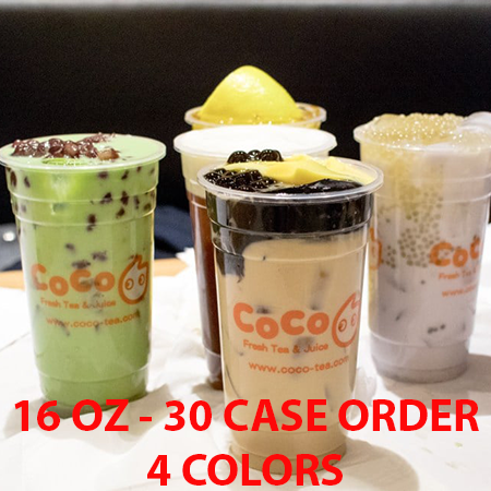 30 CASES - 16 OZ. CUSTOM PRINTED PP PLASTIC CUPS - 50% DEPOSIT REQUIRED - $93.44/CS - CarryOut Supplies