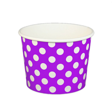 16 OZ. PAPER YOGURT CUPS, POLKA DOT PURPLE - 1,000 PCS/CS - (Item: 21667) - CarryOut Supplies