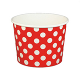 16 OZ. PAPER YOGURT CUPS, POLKA DOT RED - 1,000 PCS/CS - (Item: 21665)