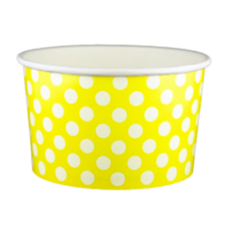 20 OZ. PAPER YOGURT CUPS, POLKA DOT YELLOW - 600 PCS/CS - (Item: 22066) - CarryOut Supplies