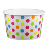 20 OZ. PAPER YOGURT CUPS, POLKA DOT RAINBOW - 600 PCS/CS - (Item: 22069)