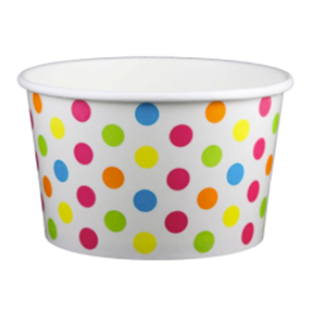 20 OZ. PAPER YOGURT CUPS, POLKA DOT RAINBOW - 600 PCS/CS