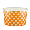 20 OZ. PAPER YOGURT CUPS, POLKA DOT ORANGE - 600 PCS/CS - (Item: 22063) - CarryOut Supplies