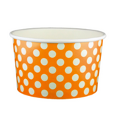 20 OZ. PAPER YOGURT CUPS, POLKA DOT ORANGE - 600 PCS/CS
