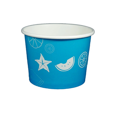 16 OZ. PAPER YOGURT CUPS, FRUIT PATTERN BLUE - 1,000 PCS/CS - (Item: 20910) - CarryOut Supplies
