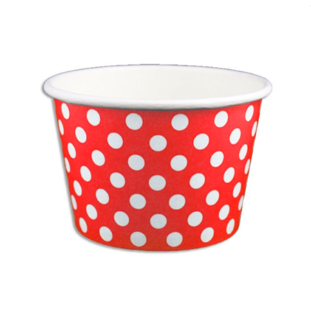 8 OZ. PAPER YOGURT CUPS, POLKA DOT RED - 1,000 PCS/CS - (Item: 	20865)