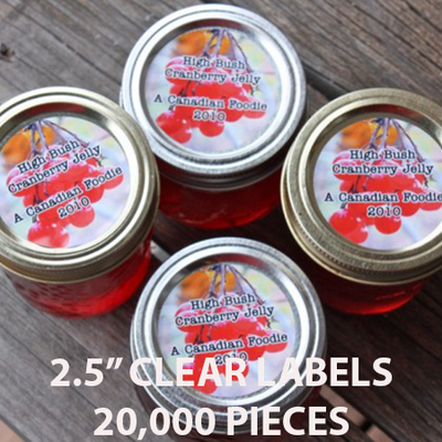 "20,000 pcs Order - 2.5"" CLEAR LABELS - $38.86 PER 1,000 PCS - CarryOut Supplies"
