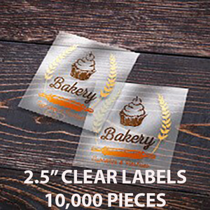 "10,000 pcs Order - 2.5"" CLEAR LABELS - SQUARE - $50.64 PER 1,000 PCS - CarryOut Supplies"