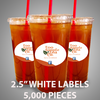 "5,000 pcs Order - 2.5"" WHITE LABELS - $73.89 PER 1,000 PCS - CarryOut Supplies"