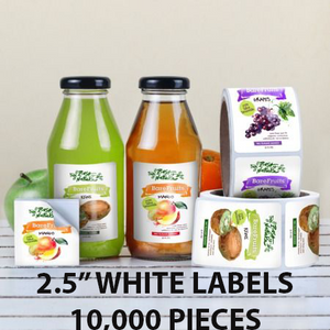 "10,000 pcs Order - 2.5"" WHITE LABELS - SQUARE - $49.75 PER 1,000 PCS - CarryOut Supplies"