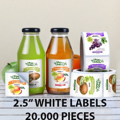 "20,000 pcs Order - 2.5"" WHITE LABELS - SQUARE - $36.57 PER 1,000 PCS - CarryOut Supplies"