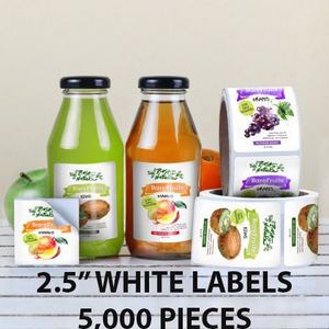 "5,000 pcs Order - 2.5"" WHITE LABELS - SQUARE - $73.89 PER 1,000 PCS - CarryOut Supplies"