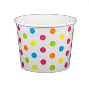 16 OZ. PAPER YOGURT CUPS, POLKA DOT RAINBOW - 1,000 PCS/CS - (Item: 21669) - CarryOut Supplies