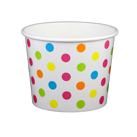16 OZ. PAPER YOGURT CUPS, POLKA DOT RAINBOW - 1,000 PCS/CS - (Item: 21669)