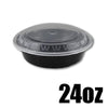 24 OZ. BLACK ROUND CONTAINER W/ CLEAR LIDS COMBO - 150 CONTAINERS / CS - (Item: 5224) - CarryOut Supplies