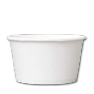 24 OZ. PAPER YOGURT CUP 600 PCS/CS - PLAIN WHITE - CarryOut Supplies