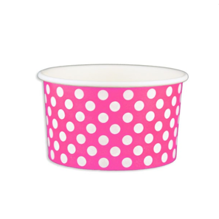 5 OZ. PAPER YOGURT CUPS, POLKA DOT PINK - 1,000 PCS/CS - (Item: 20564)
