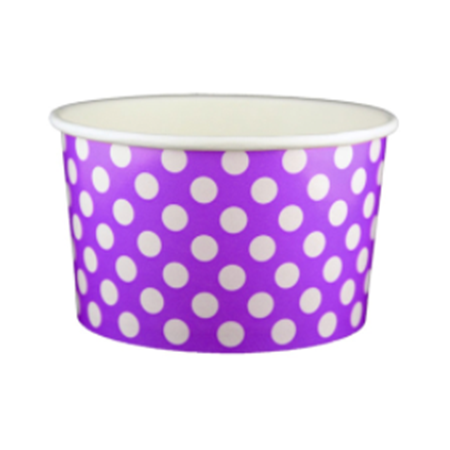 20 OZ. PAPER YOGURT CUPS, POLKA DOT PURPLE - 600 PCS/CS