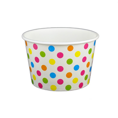08 OZ. PAPER YOGURT CUPS, POLKA DOT RAINBOW - 1,000 PCS/CS - (Item: 20870) - CarryOut Supplies