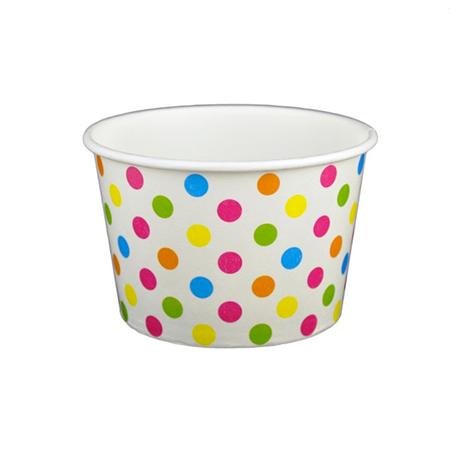 8 OZ. PAPER YOGURT CUPS, POLKA DOT RAINBOW - 1,000 PCS/CS