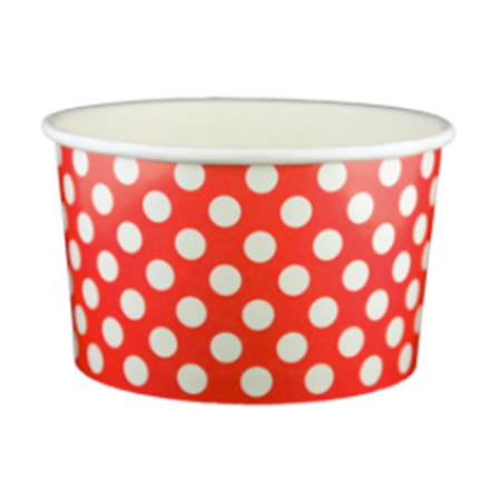 20 OZ. PAPER YOGURT CUPS, POLKA DOT RED - 600 PCS/CS - (Item: 22065)