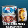 "10,000 pcs Order - 3.0"" CLEAR LABELS - $ 64.96 PER 1,000 PCS - CarryOut Supplies"