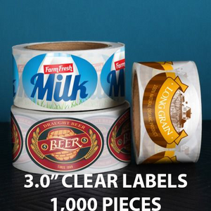 "1,000 pcs Order - 3.0"" CLEAR LABELS - CarryOut Supplies"