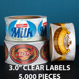 "5,000 pcs Order - 3.0"" CLEAR LABELS - $ 89.09 PER 1,000 PCS"