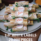 "3.0"" WHITE LABELS - $48.28 PER 1,000 PCS"