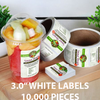 "10,000 pcs Order - 3.0"" WHITE LABELS - SQUARE - $61.18 PER 1,000 PCS - CarryOut Supplies"