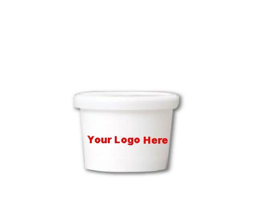 10 CASES - 4 OZ. CUSTOM PRINTED ICE CREAM CUPS COMBO WITH PRINTED LIDS 1000 PCS/CS  - 50% DEPOSIT REQUIRED - $170.86/CS - CarryOut Supplies