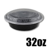 32 OZ BLACK ROUND CONTAINER W/ CLEAR LIDS COMBO - 150 CONTAINERS / CS - (Item: 5232) - CarryOut Supplies
