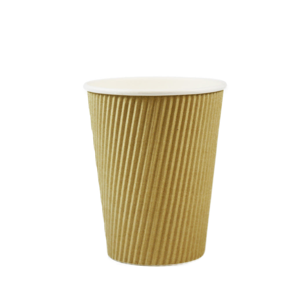 12 OZ RIPPLE INSULATED TRIPLE WALL, PAPER HOT CUP - BROWN - 500/CS - (item code: 361230) - CarryOut Supplies