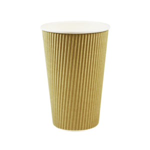16 OZ RIPPLE INSULATED TRIPLE WALL, PAPER HOT CUP - BROWN - 500/CS - (item code: 361630) - CarryOut Supplies