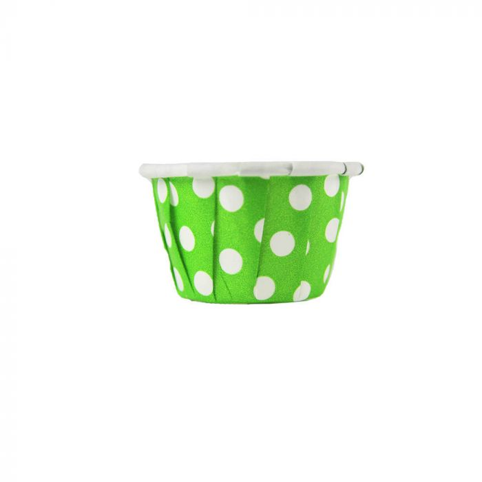 YC 0.5 oz Green Polka Dot Dots Paper Soufflé / Portion Cup - 1 case (5000 piece) - CarryOut Supplies